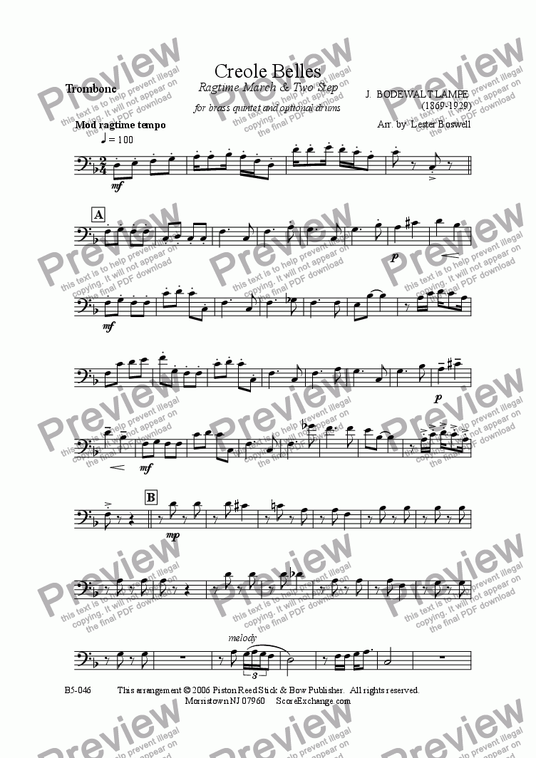 page one of the Trombone part from Creole Belles- brass quintet with opt drums