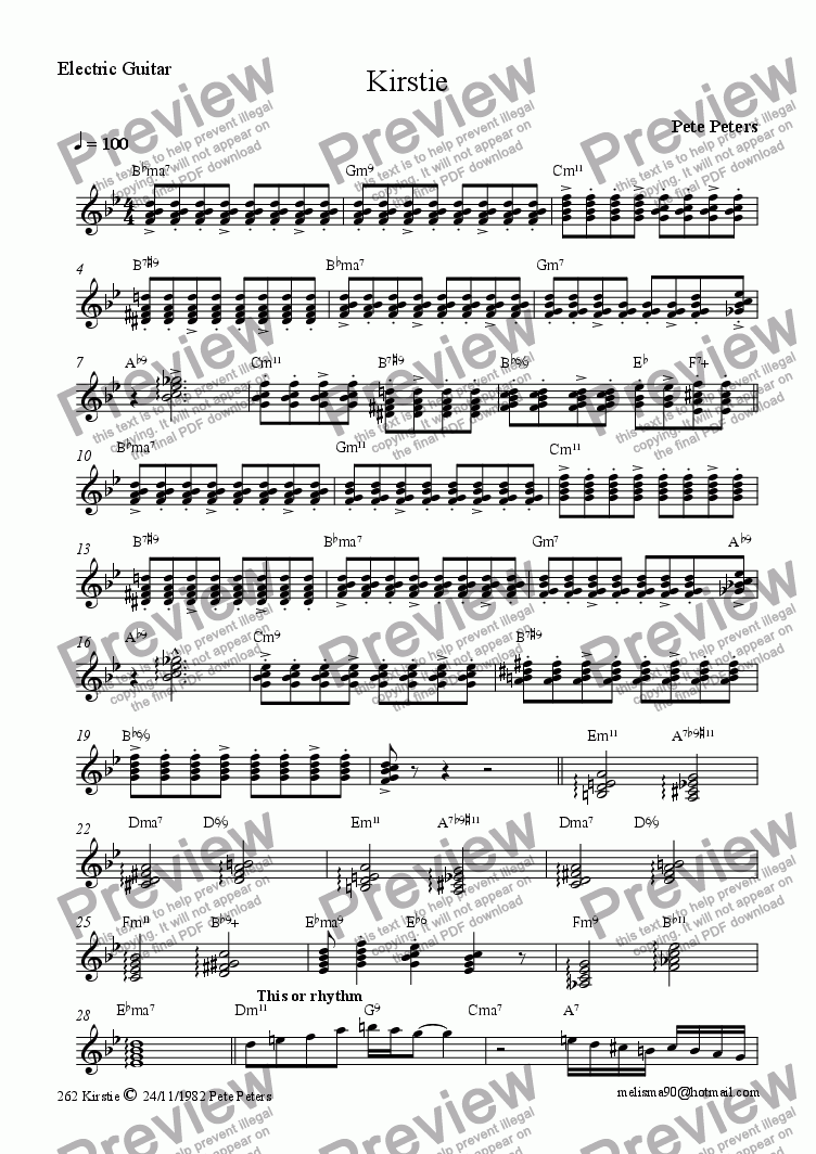page one of the Guitar(Jazz) part from Kirstie (Revised) Flute with small Latin group
