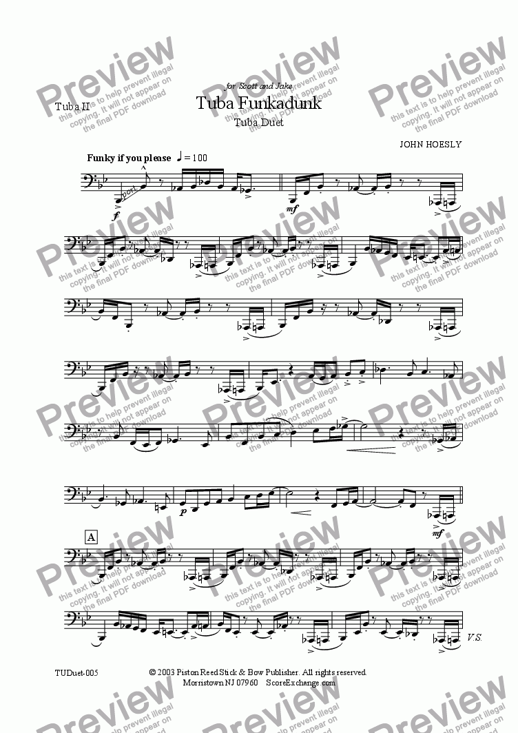 page one of the Tuba II part from Tuba Funkadunk- tuba duet