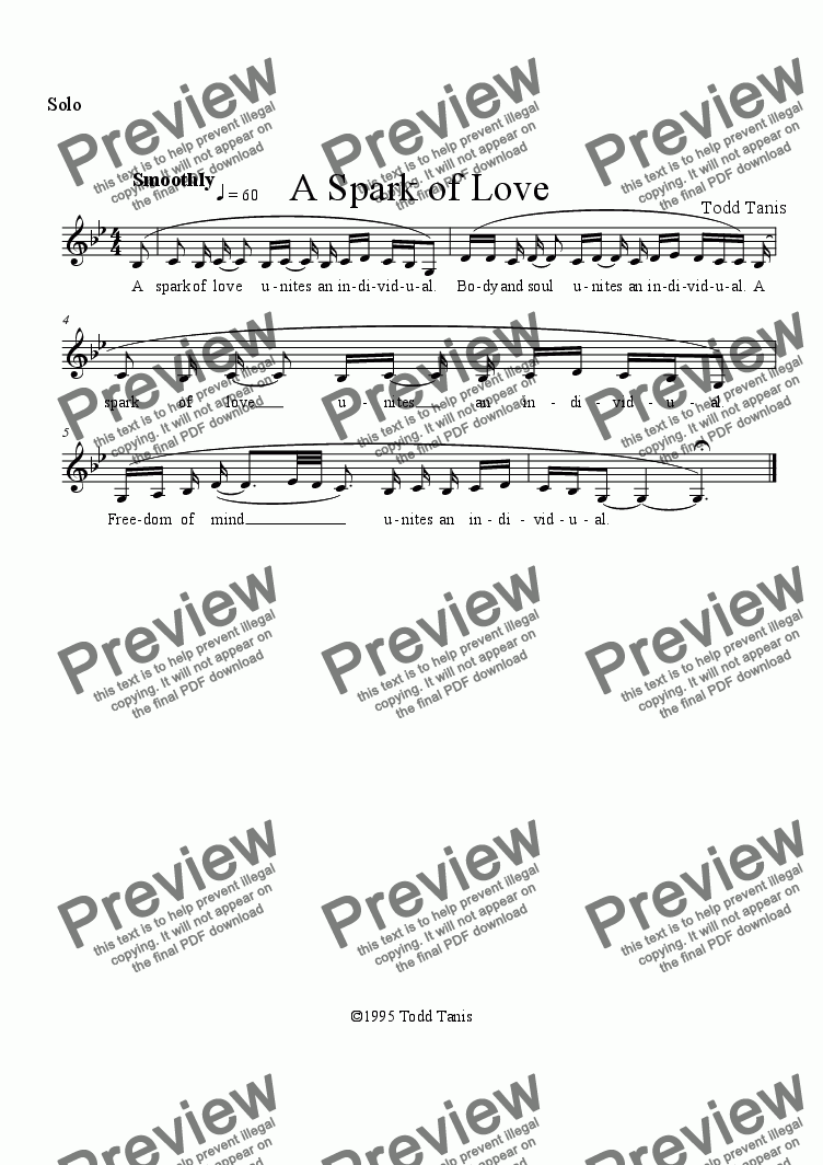 page one of the Solo part from Spark of Love, A [piano-vocal solo-TTBB]