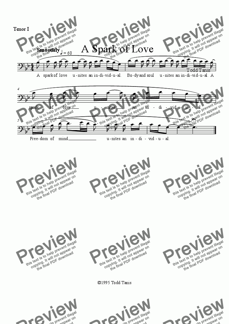 page one of the Tenor I part from Spark of Love, A [piano-vocal solo-TTBB]