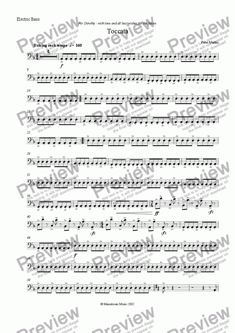 page one of the Electric Bass Guitar part from Toccata