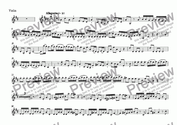 page one of the Violin II part from Concerto in D (2 horns, 2 violins) - 1st movement
