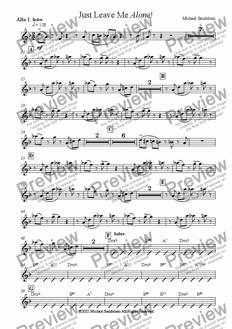 page one of the Alto 1 part from Just Leave Me Alone!