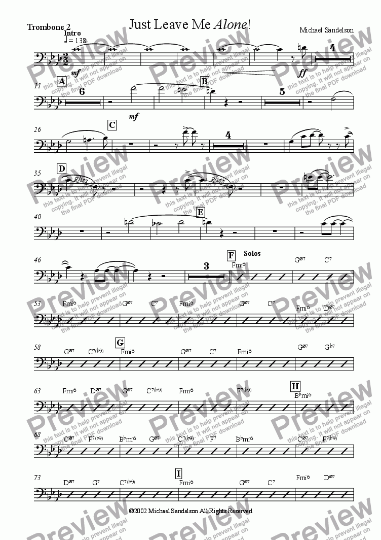 page one of the Trombone 2 part from Just Leave Me Alone!