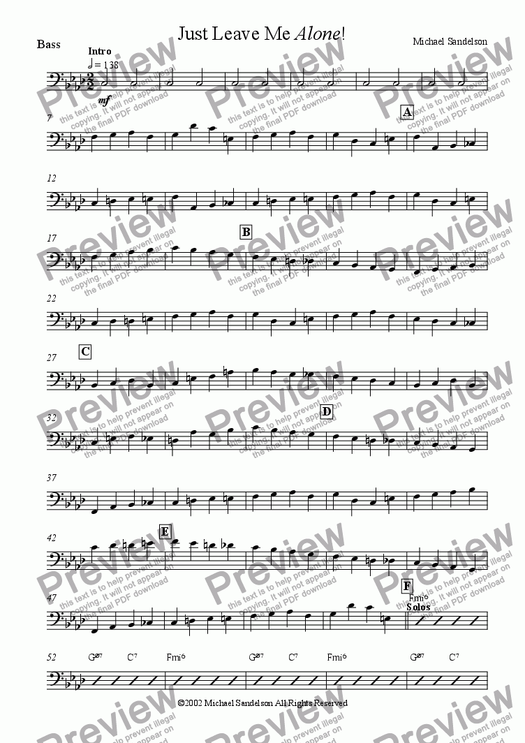 page one of the Bass part from Just Leave Me Alone!