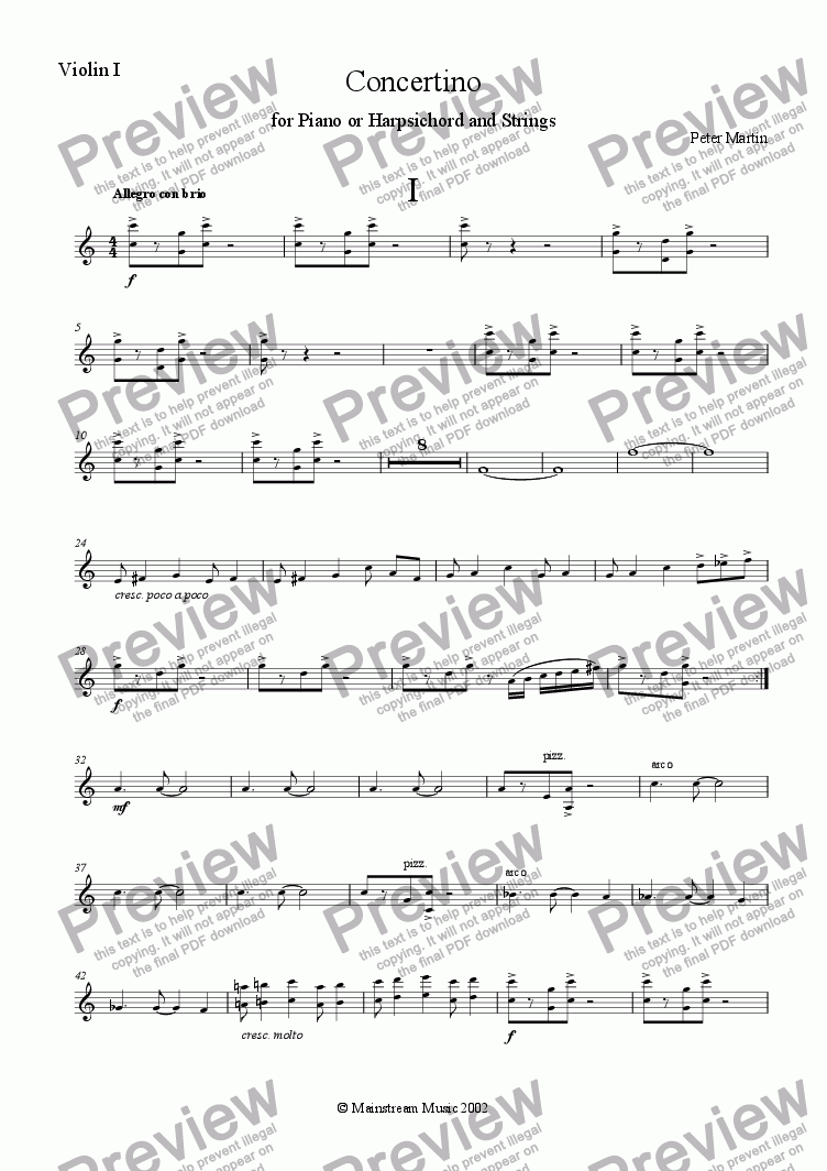 page one of the Violin I part from Concertino for Piano or Harpsichord & Strings