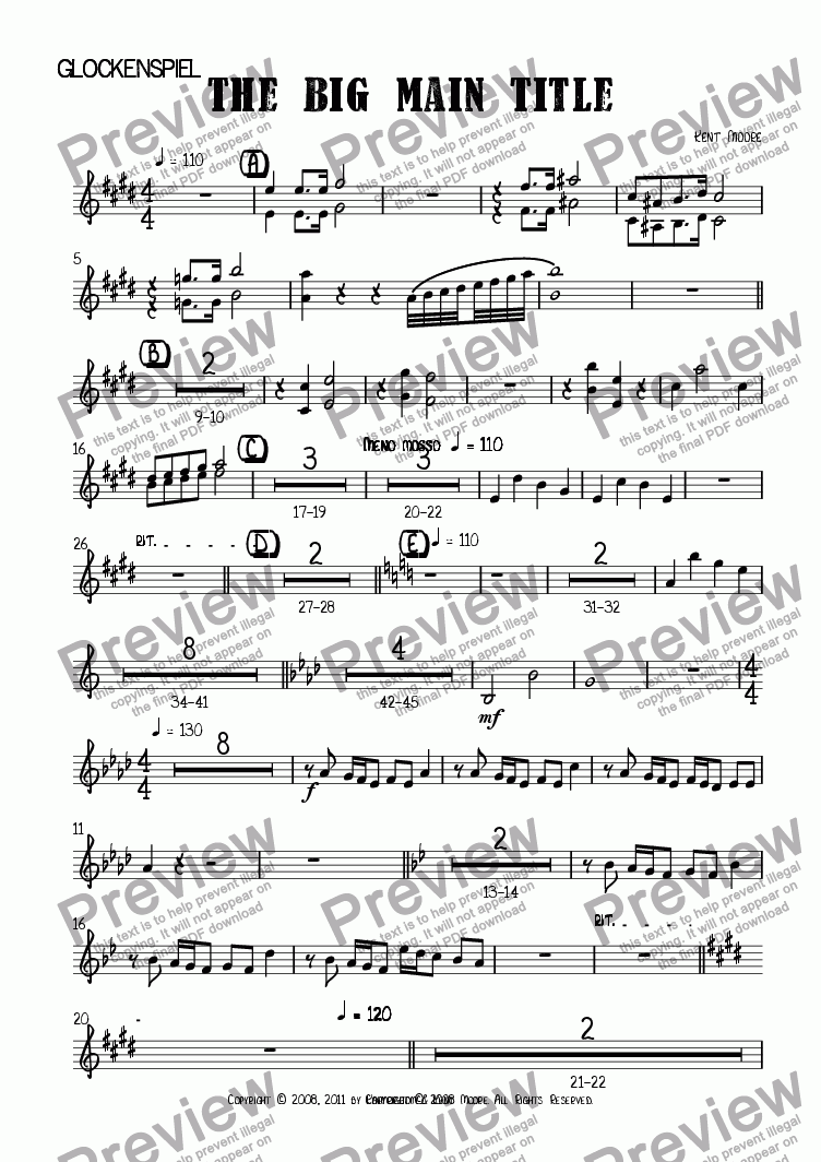 page one of the Glockenspiel part from The Big Main Title