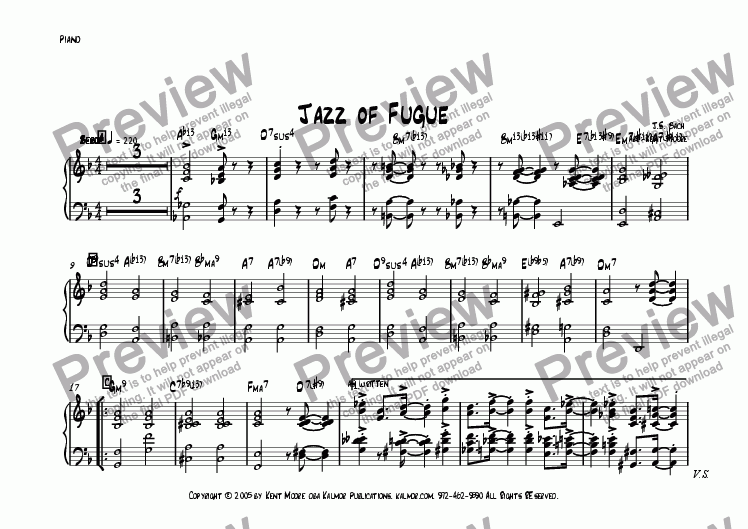 page one of the Piano part from Jazz of Fugue