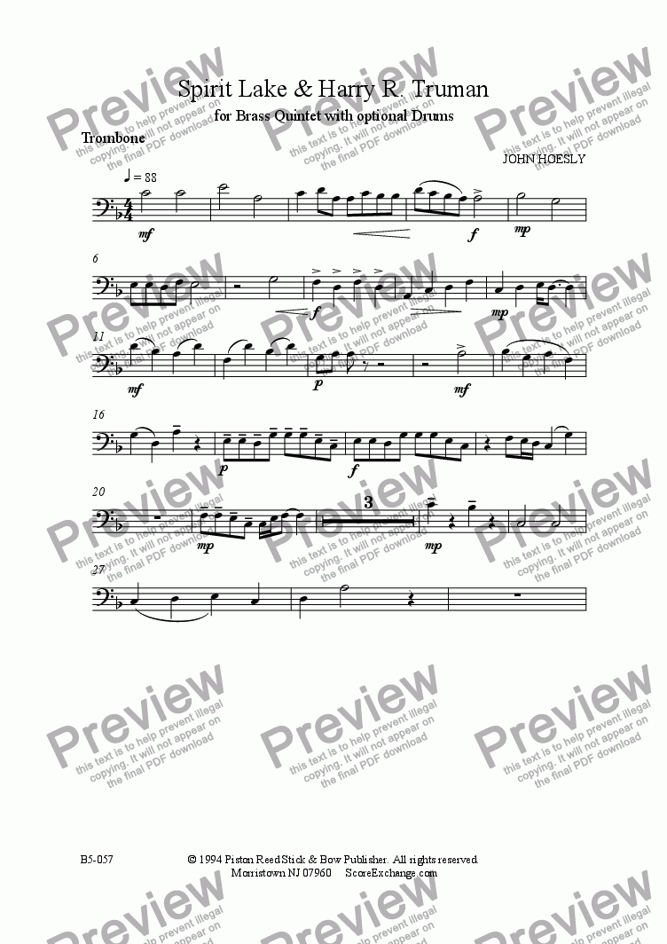 page one of the Trombone part from Spirit Lake & Harry R. Truman- brass quintet with opt. drums
