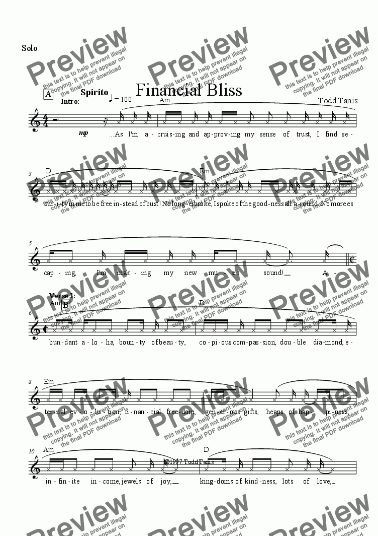 page one of the Solo part from Financial Bliss [piano-vocal]