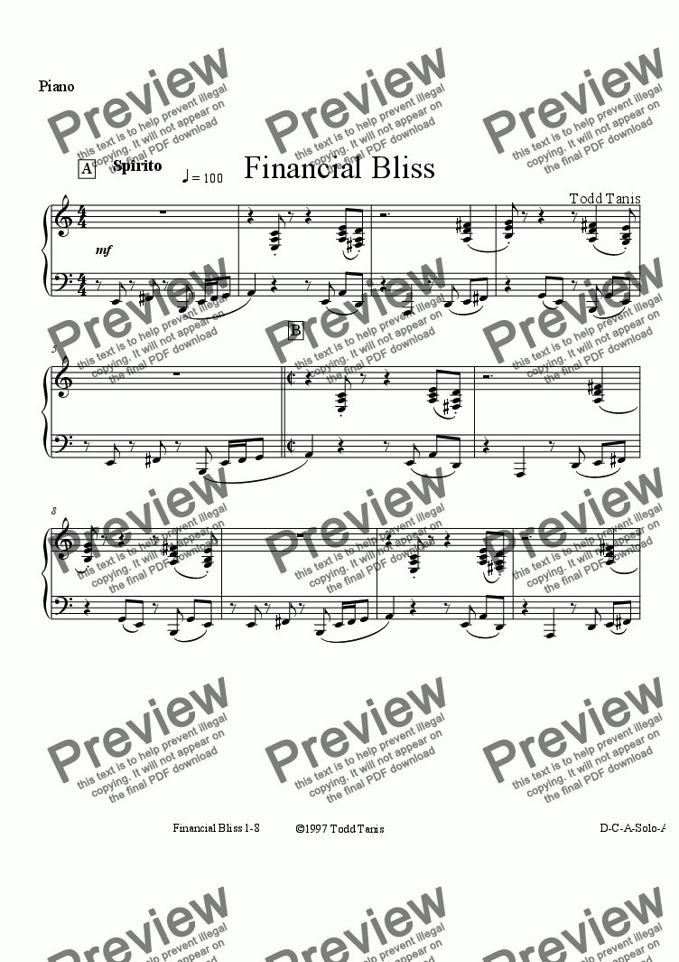 page one of the Piano part from Financial Bliss [piano-vocal]