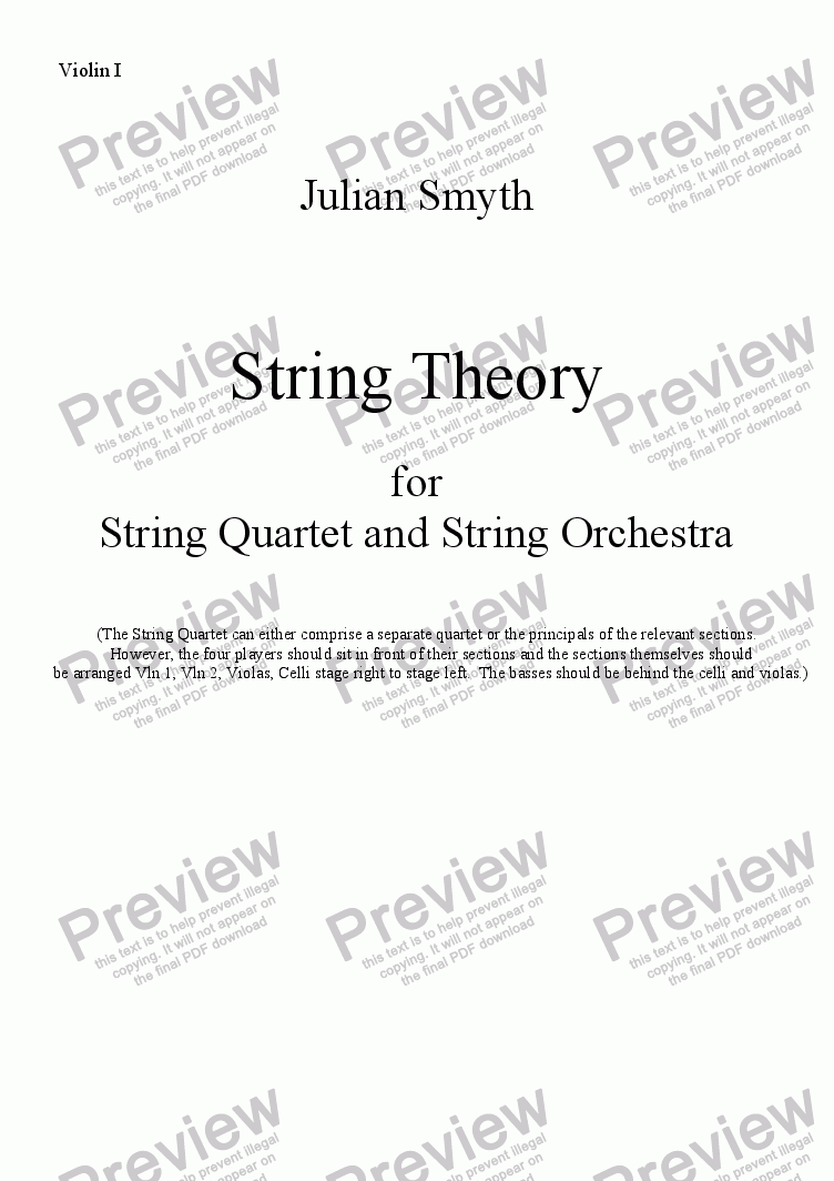 page one of the Violin I part from String Theory