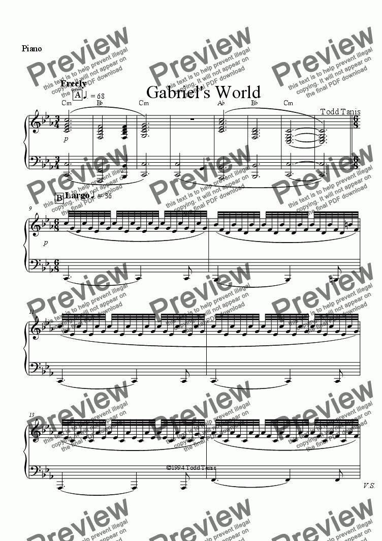 page one of the Piano part from Gabriel's World [piano-vocal]