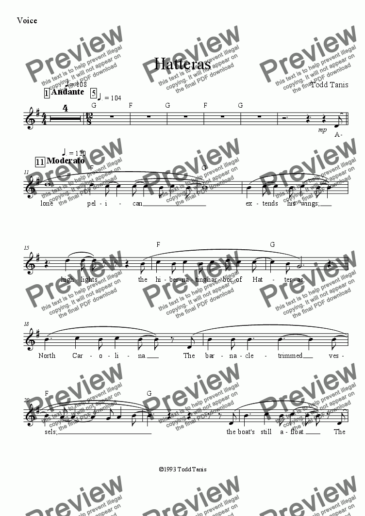 page one of the Voice part from Hatteras [piano-vocal]