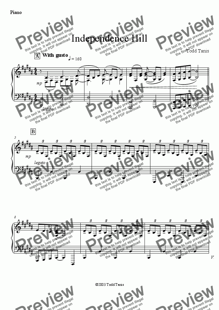 page one of the Piano part from Independence Hill [piano-vocal]