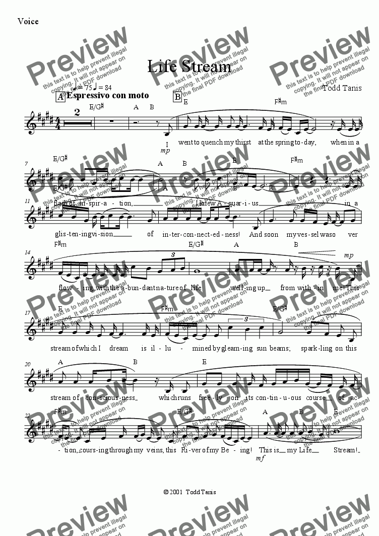 page one of the Voice part from Life Stream [piano-vocal]