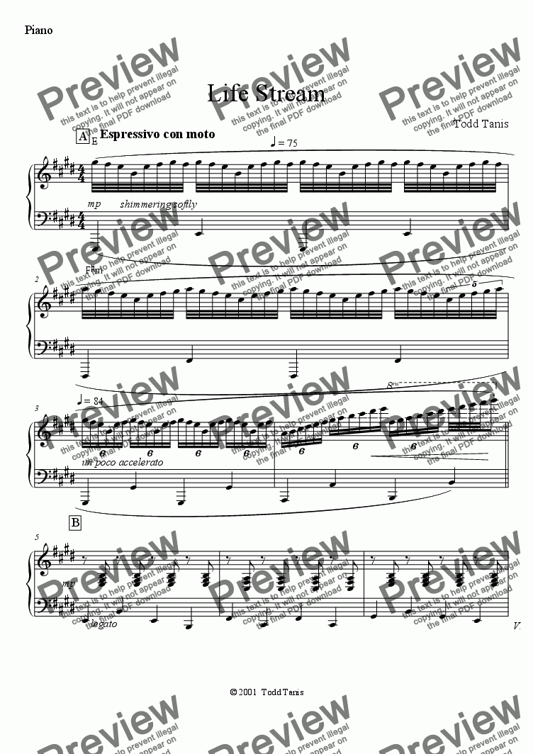 page one of the Piano part from Life Stream [piano-vocal]