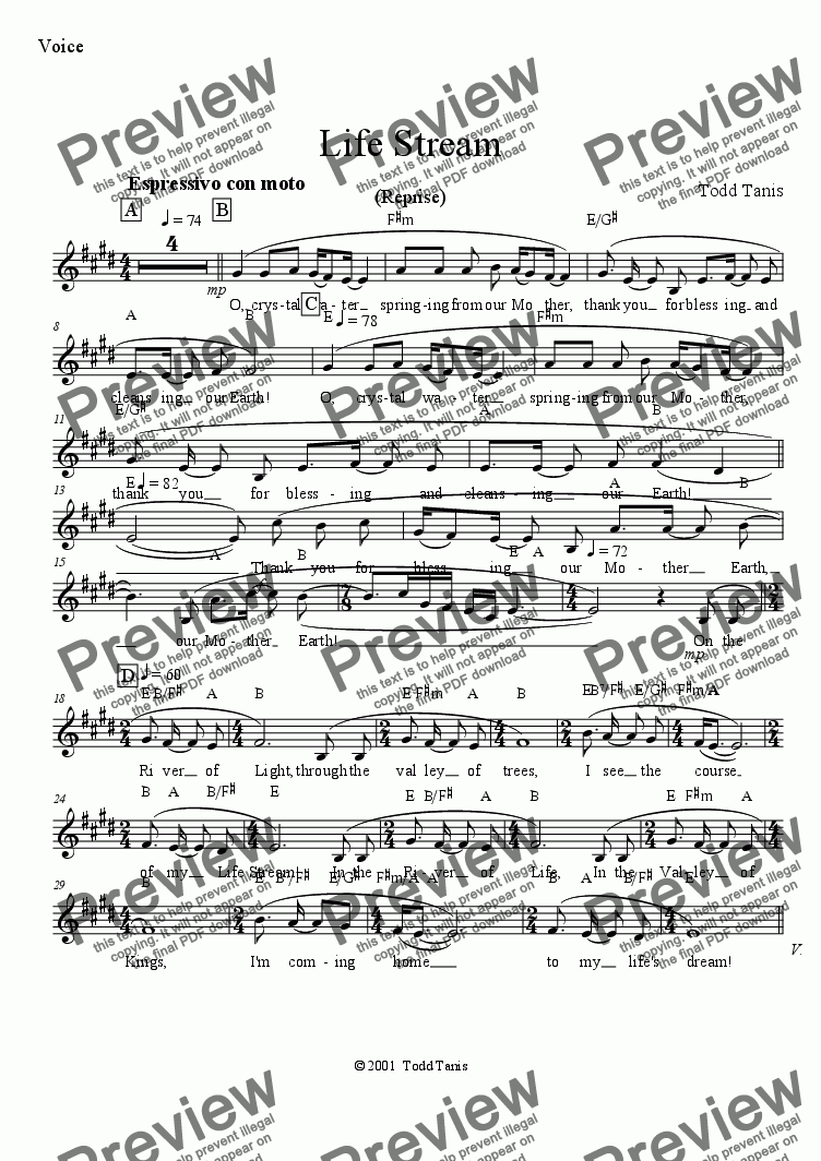 page one of the Voice part from Life Stream (Reprise) [piano-vocal]