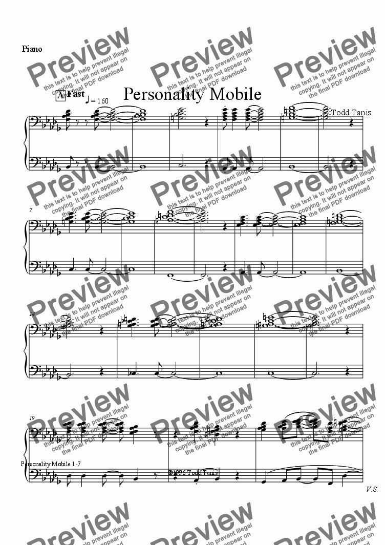 page one of the Piano part from Personality Mobile [piano-vocal]