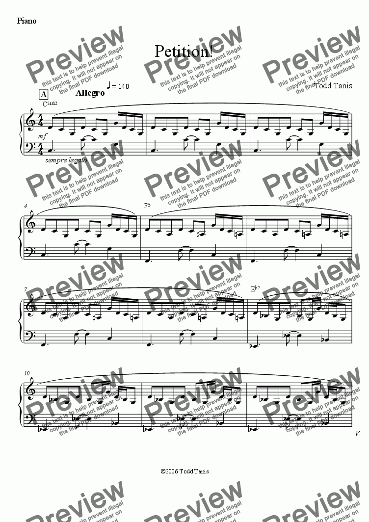page one of the Piano part from Petition! [piano-vocal]