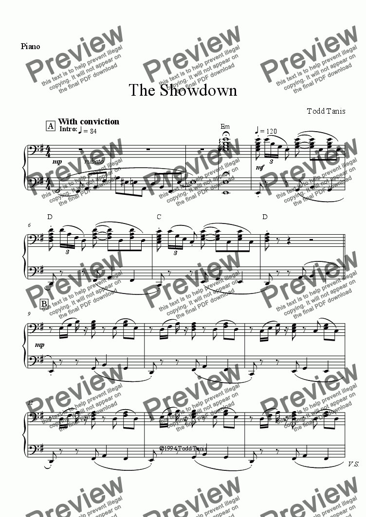 page one of the Piano part from Showdown, The [piano-vo