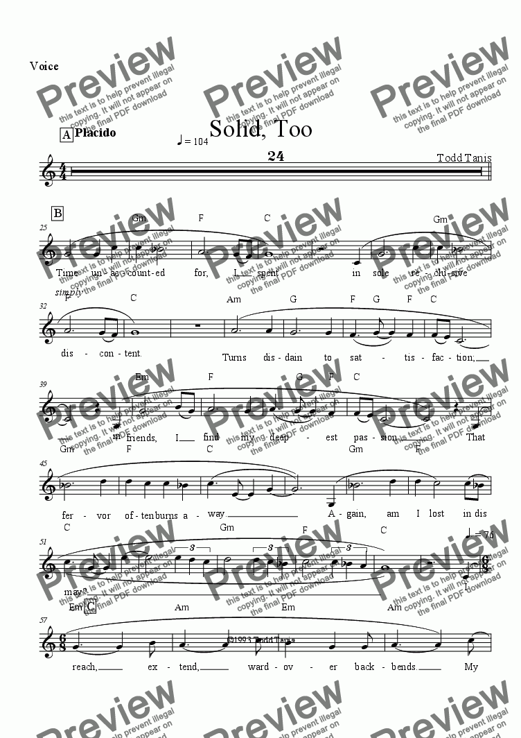 page one of the Voice part from Solid, Too [piano-vocal]