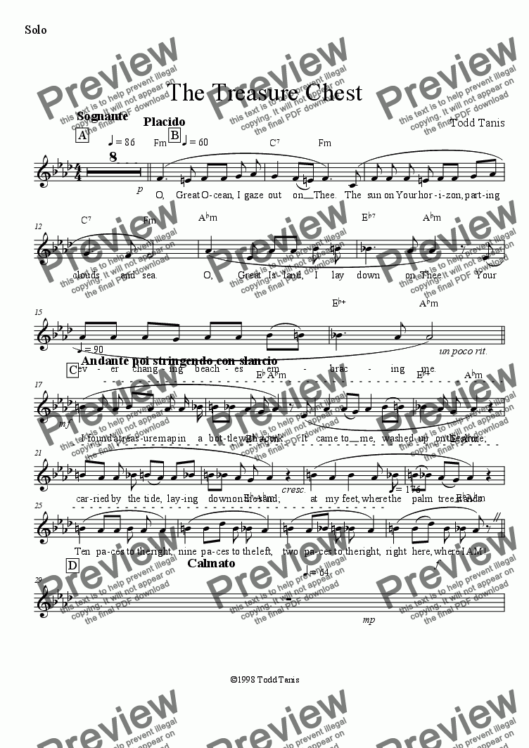 page one of the Solo part from Treasure Chest, The [piano-vocal]