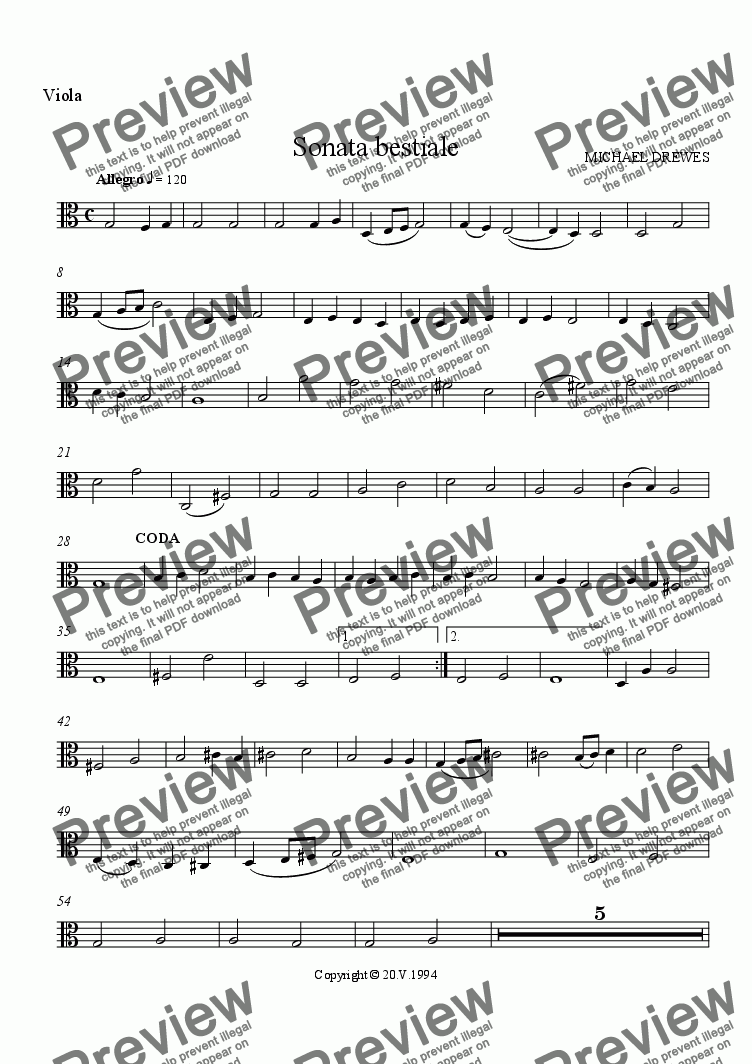 page one of the Viola part from Sonata bestiale