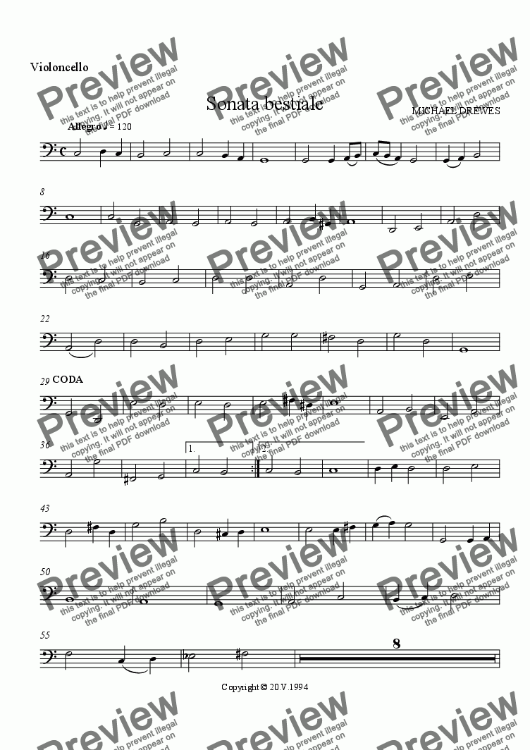 page one of the Violoncello part from Sonata bestiale