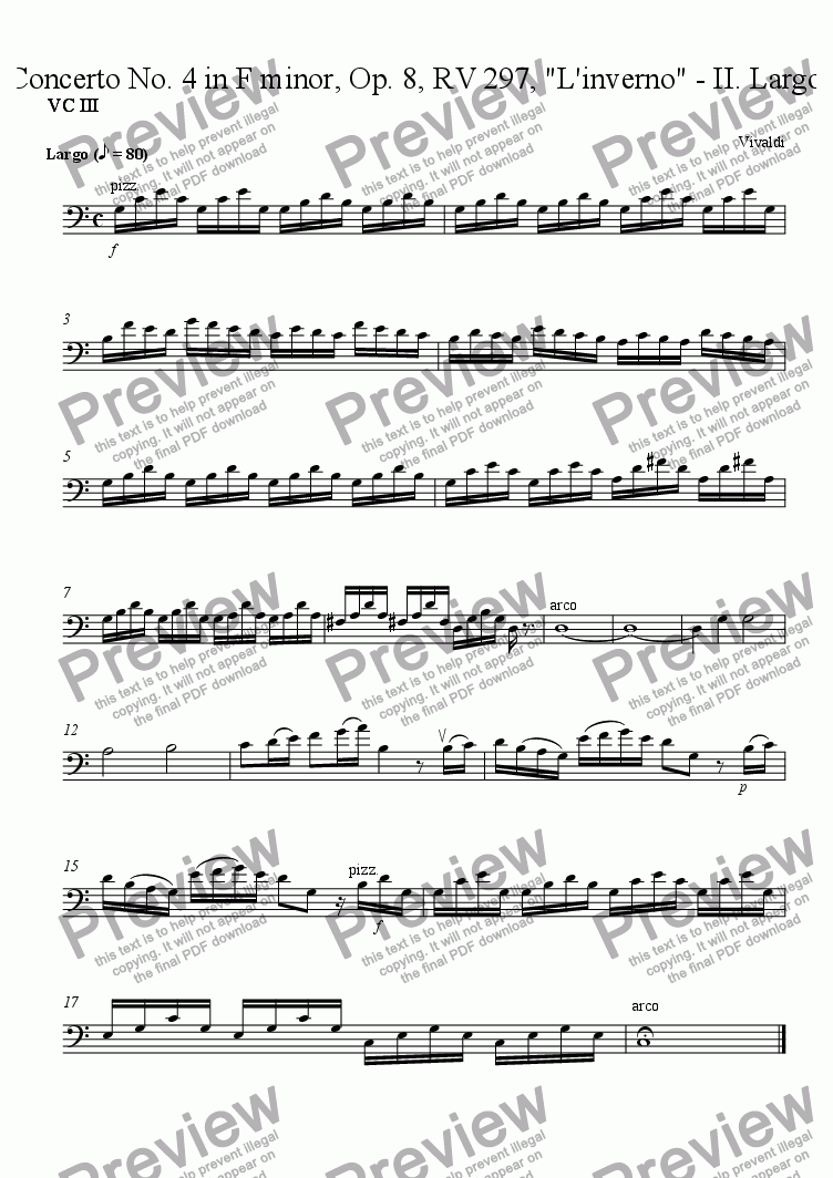 "page one of the VC III part from Concerto No. 4 in F minor, Op. 8, RV 297, ""L'inverno"" - II. Largo"