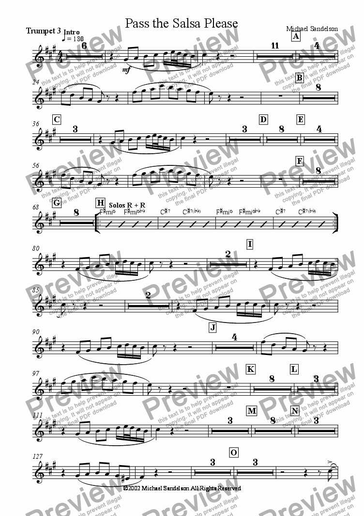 page one of the Trumpet 3 part from Pass the Salsa Please