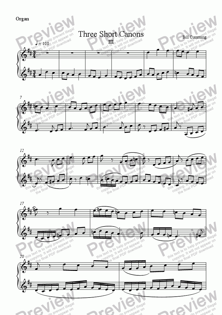 page one of the Organ part from Three Short Canons III