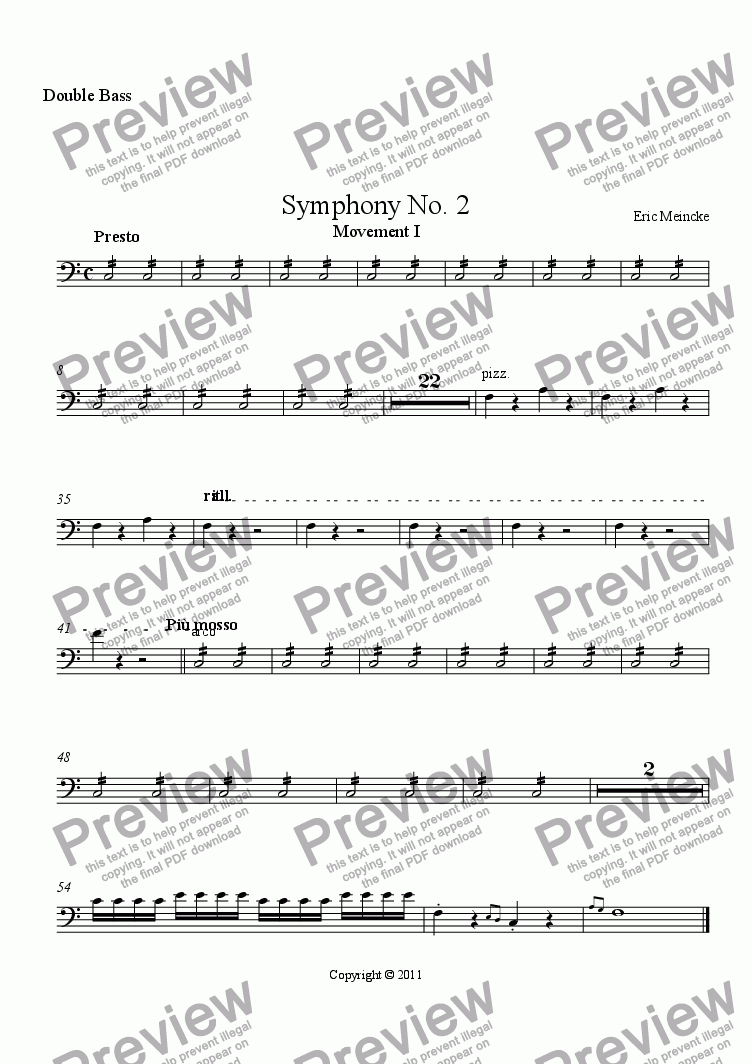 page one of the Double Bass part from Symphony No. 2 in C Major, Movement I