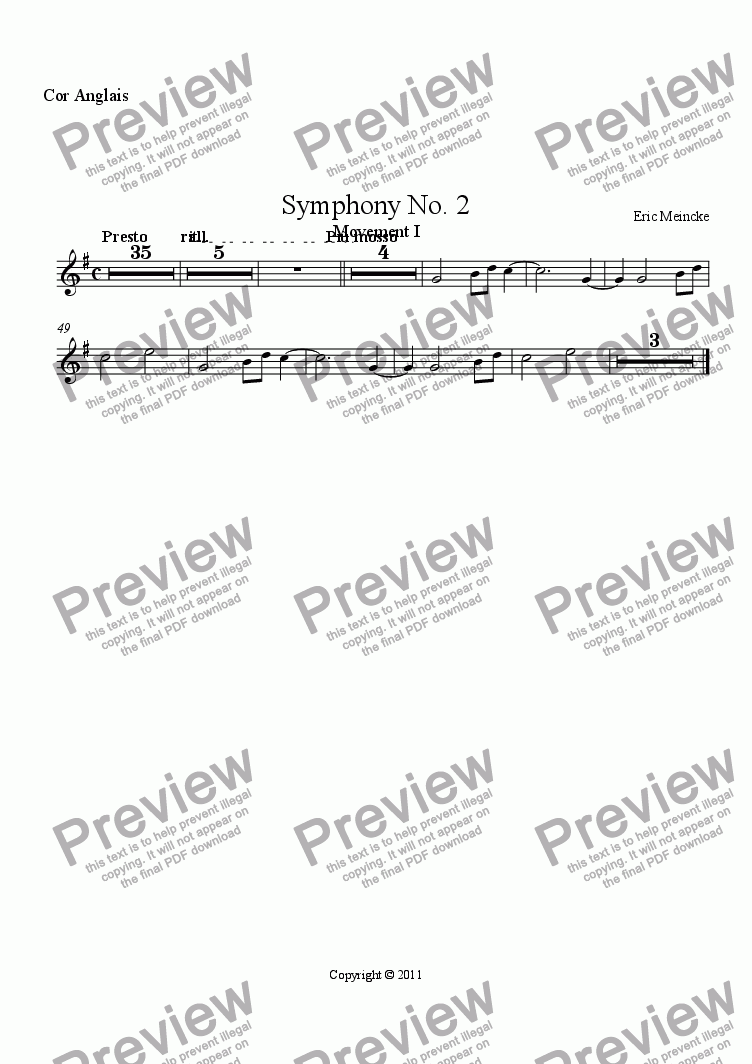 page one of the Cor Anglais part from Symphony No. 2 in C Major, Movement I