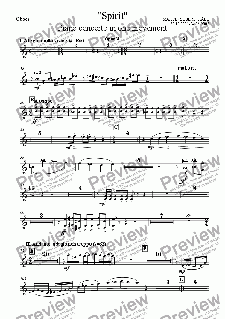 "page one of the Oboes part from ""Spirit"" - Piano Concerto No.2"
