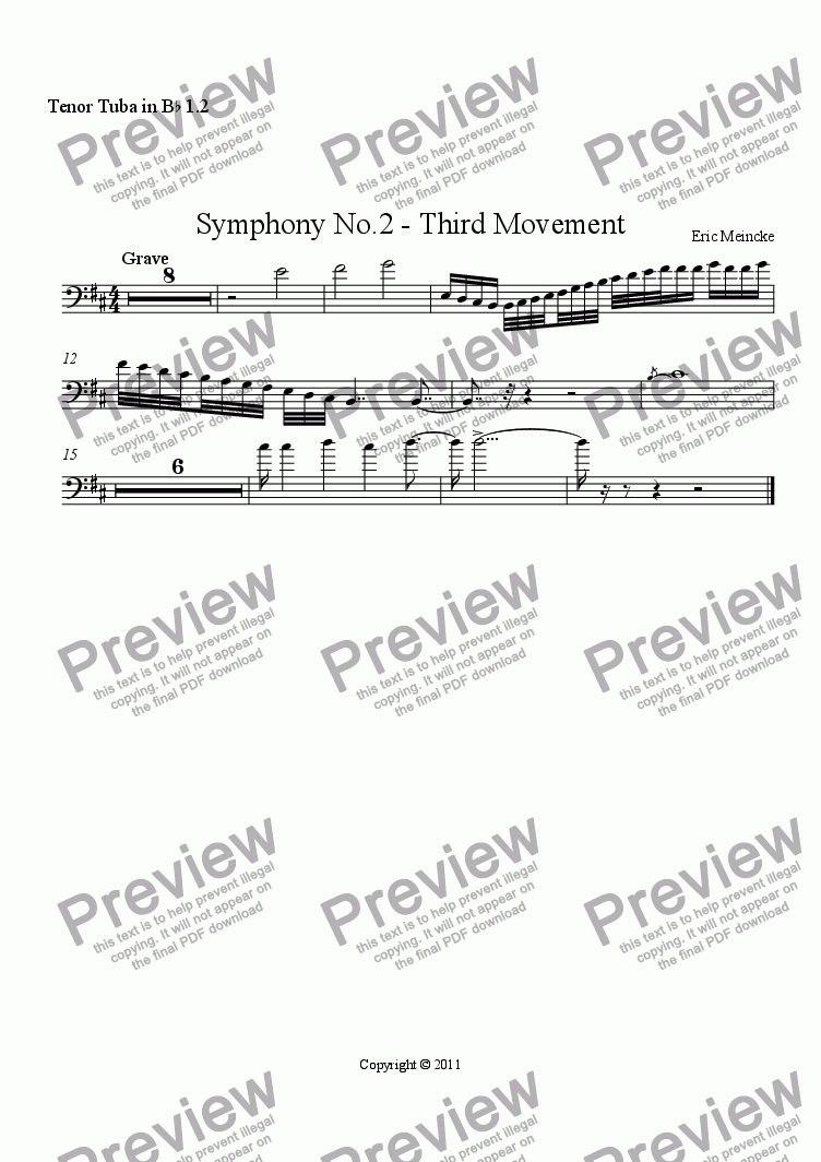 page one of the Tenor Tuba in B^b 1.2 part from Symphony No.2 in C Major, Movement III
