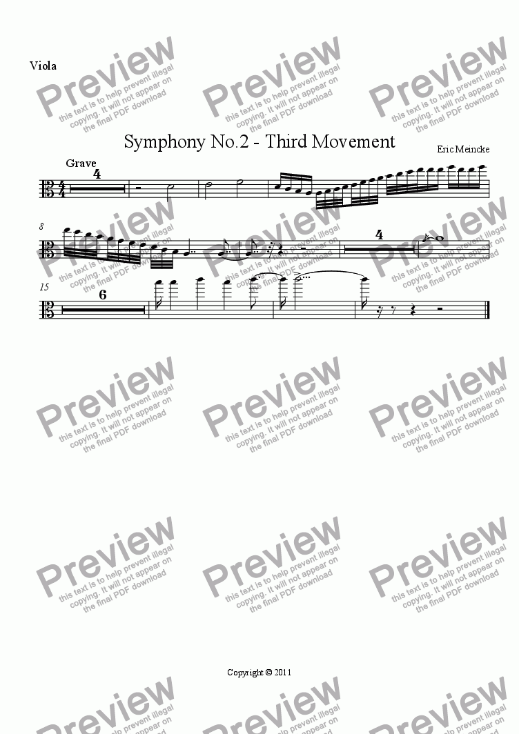 page one of the Viola part from Symphony No.2 in C Major, Movement III