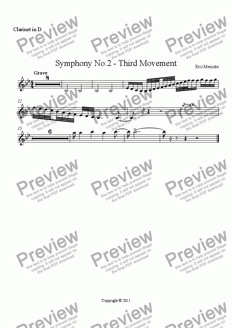 page one of the Clarinet in D part from Symphony No.2 in C Major, Movement III