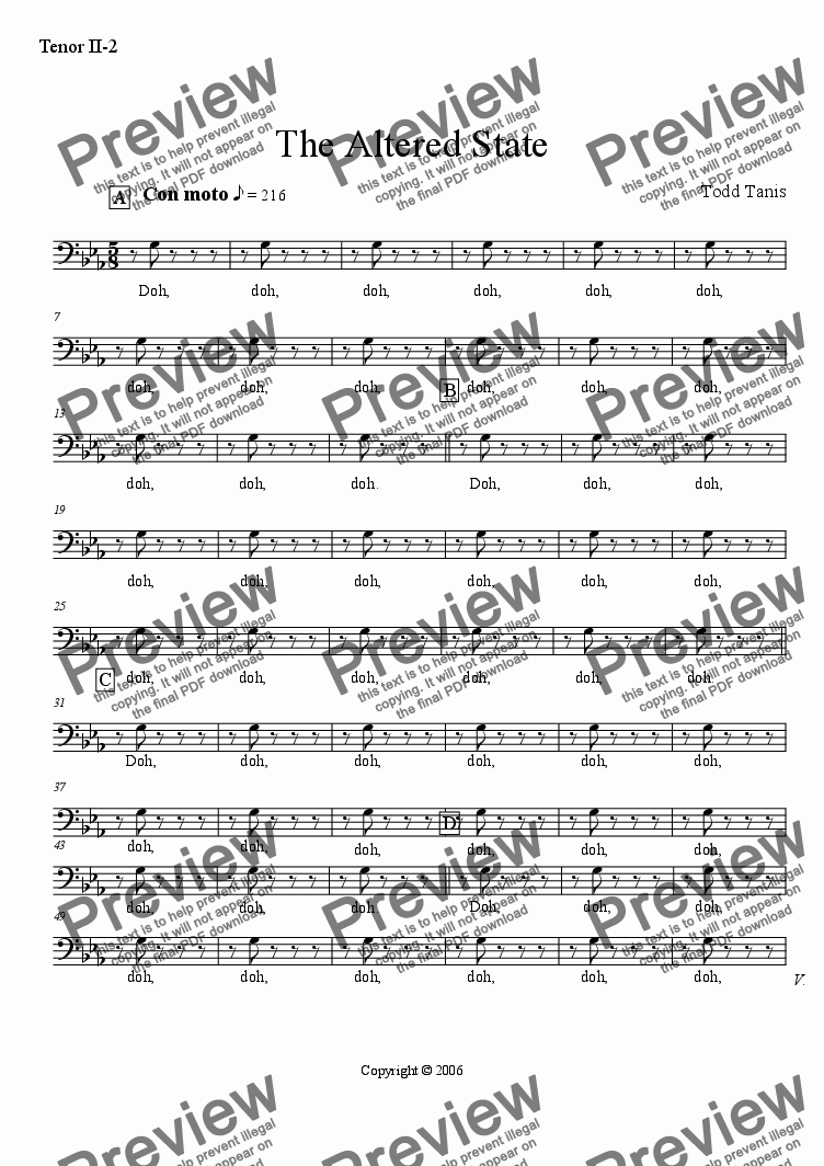 page one of the Tenor II-2 part from Altered State, The [piano-vocal-TTBB]