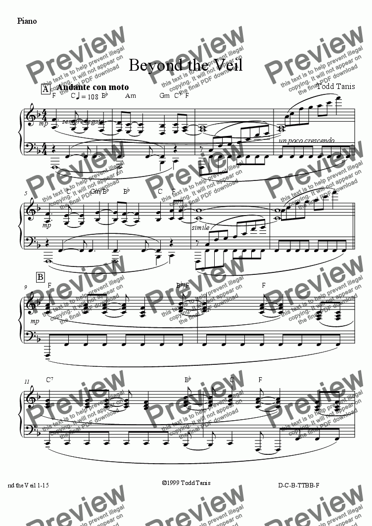 page one of the Piano part from Beyond the Veil [piano-vocal solo-TTBB]
