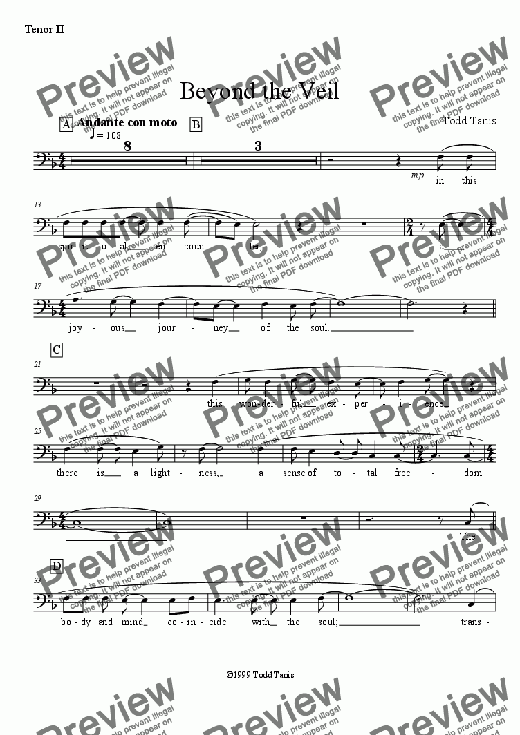page one of the Tenor II part from Beyond the Veil [piano-vocal solo-TTBB]