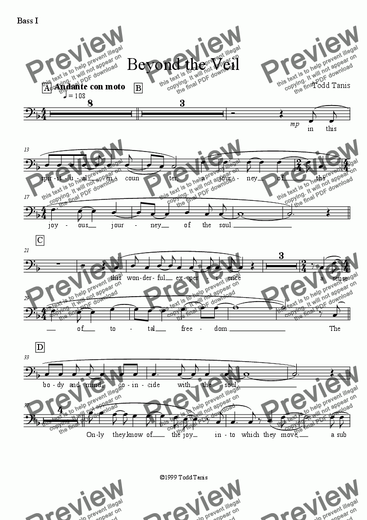 page one of the Bass I part from Beyond the Veil [piano-vocal solo-TTBB]