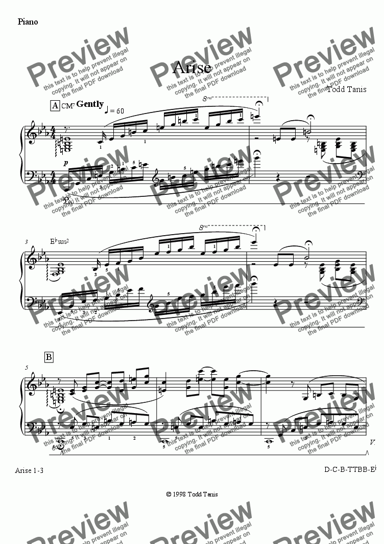 page one of the Piano part from Arise [piano-vocal solo-TTBB]