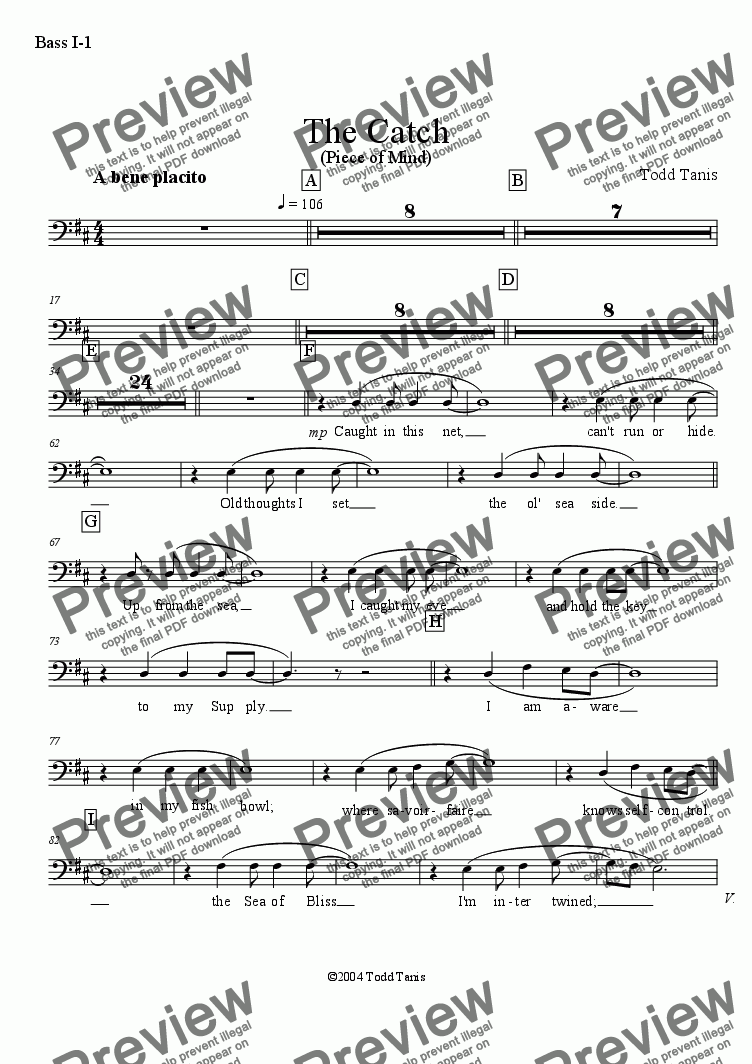 page one of the Bass I-1 part from Catch, The [piano-vocal solo-TTBB]