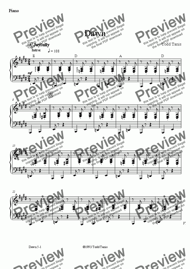 page one of the Piano part from Dawn [piano-vocal]