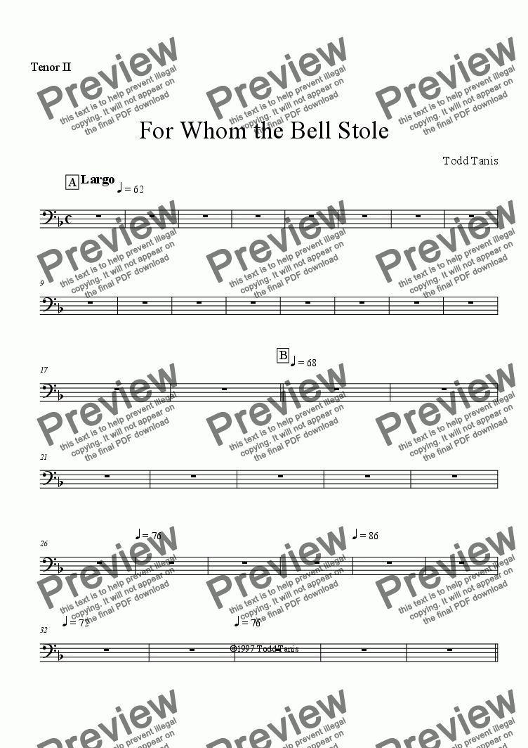 page one of the Tenor II part from For Whom the Bell Stole [piano-vocal solo-TTBB]