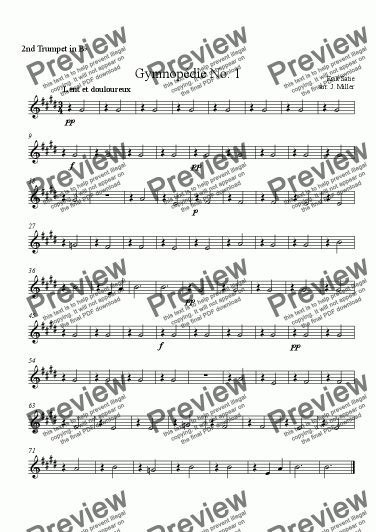 page one of the 2nd Trumpet in B♭ part from Gymnopédie No. 1