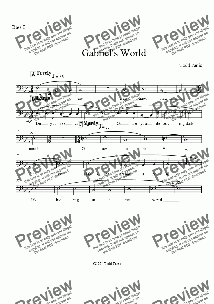 page one of the Bass I part from Gabriel's World [piano-vocal solo-TTBB]