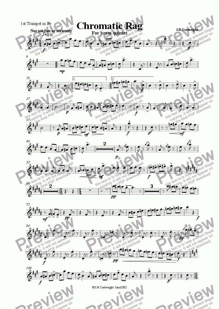 page one of the 1st trumpet part from Chromatic  Rag for brass quintet